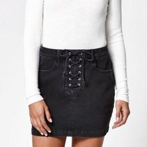 Kendall & Kylie Lace-up Denim Mini Skirt